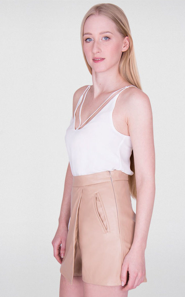 Stone Faux Leather High Waisted Skort by MISSTRUTH