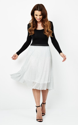 Pleated Skirt With PU Leather Waistband by Cutie London