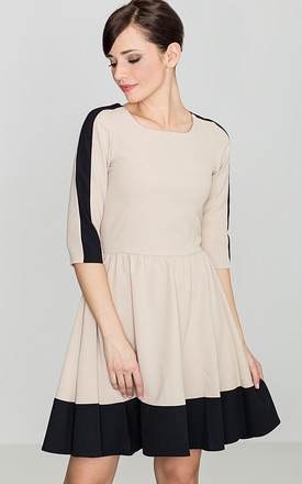Beige - Black 3/4 Sleeves Mini Flared Dress by LENITIF