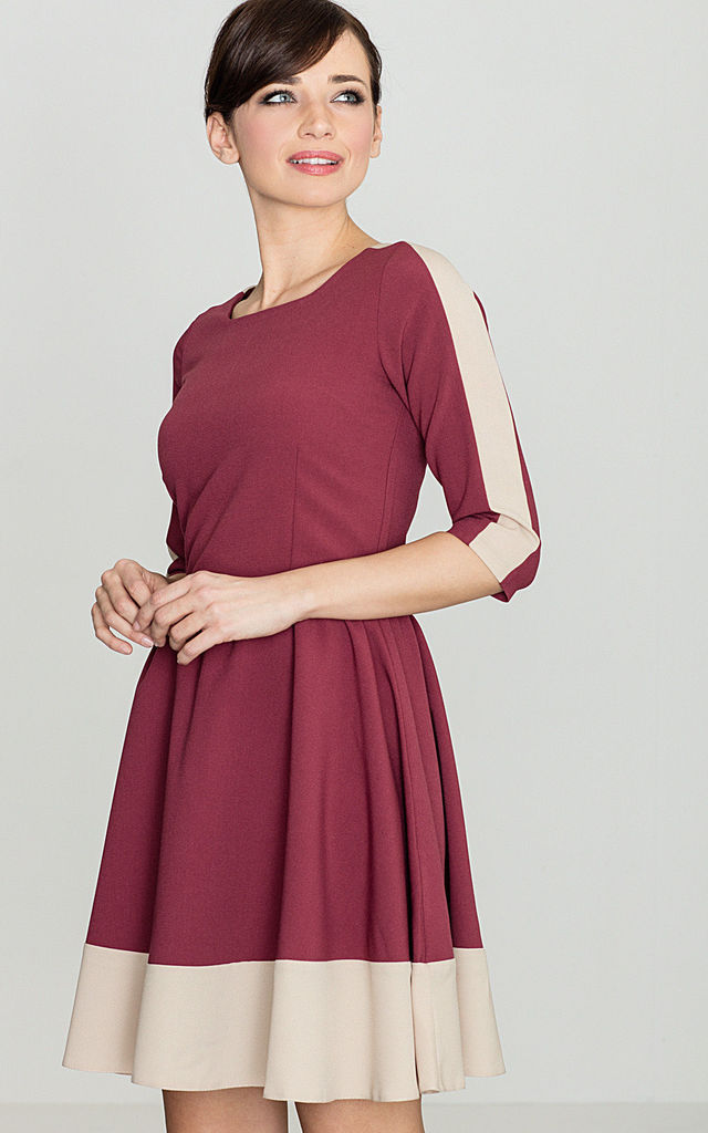 Deep Red - Beige 3/4 Sleeves Mini Flared Dress by LENITIF
