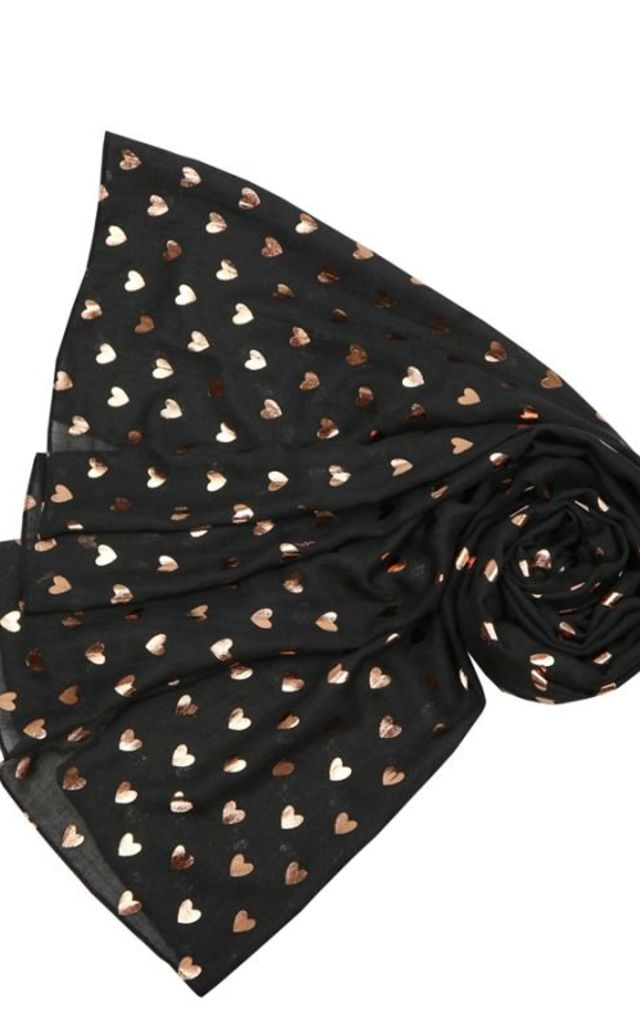 Rose Gold Metallic Heart Black Scarf by Nautical and Nice Ltd