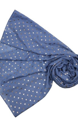 Rose Gold metallic star blue scarf by Nautical and Nice Ltd