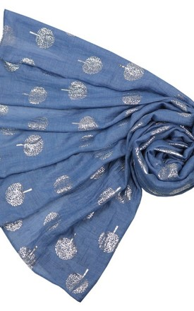 Blue metallic silver tree scarf by Nautical and Nice Ltd
