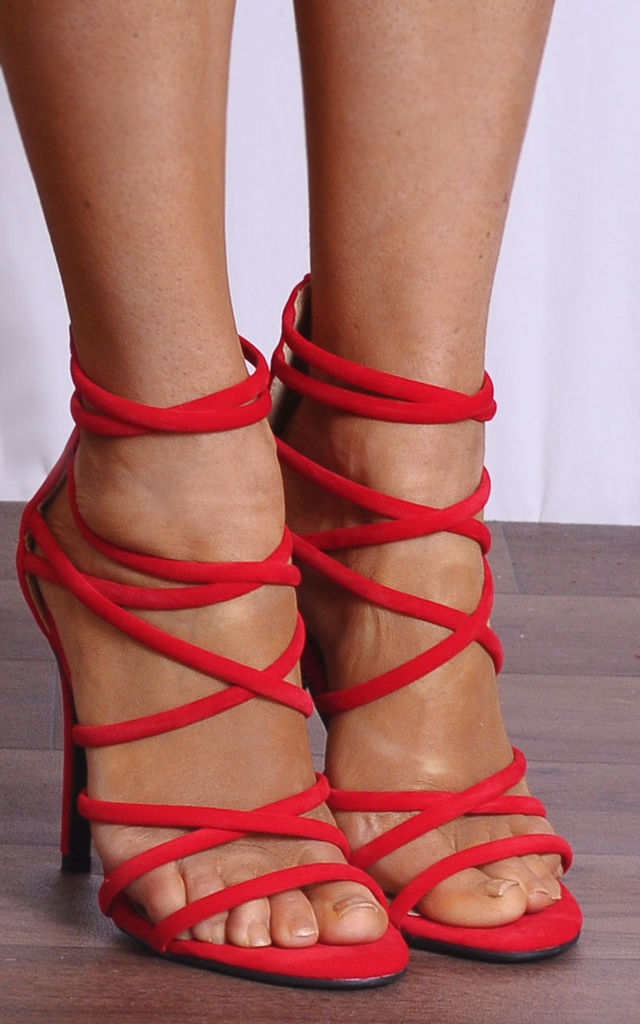 Bright Red Faux Suede Strappy Sandals High Heels Peep Toes by Shoe Closet