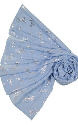 Glitter silver dragonfly blue scarf by Nautical and Nice Ltd