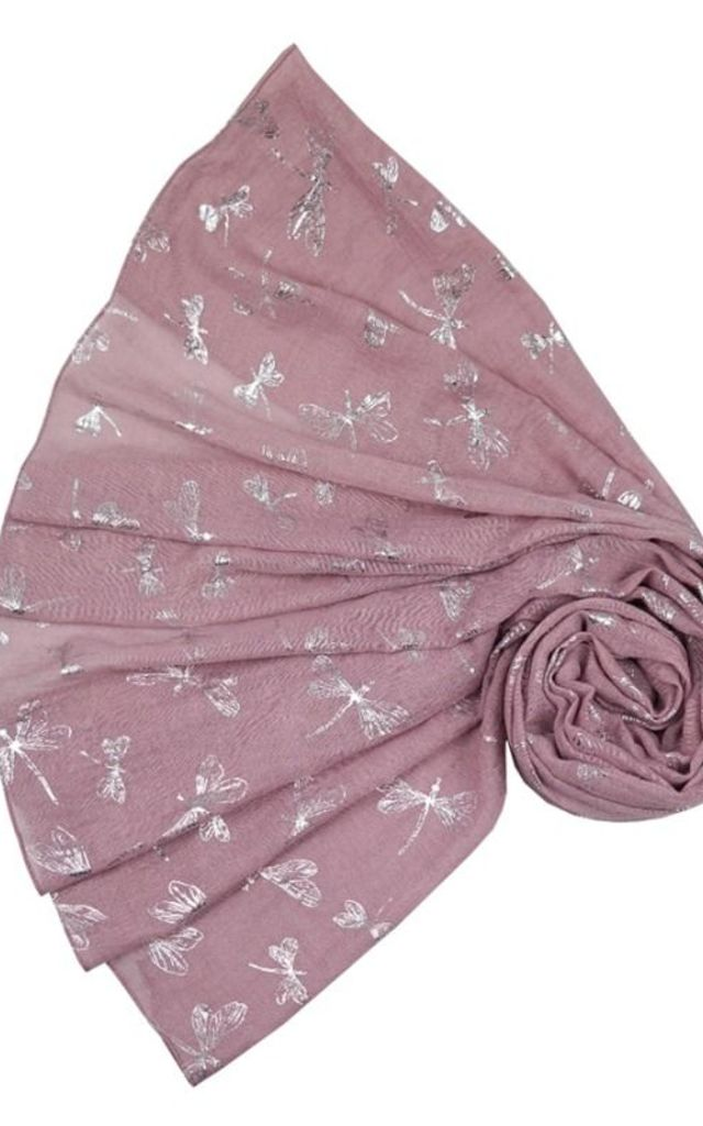 Dragon fly Metallic pink scarf by Nautical and Nice Ltd