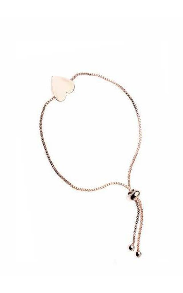 Rose gold heart adjustable bracelet by Nautical and Nice Ltd