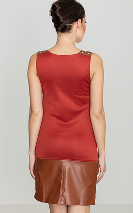 Brown Faux Leather Trim Dress by LENITIF