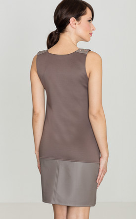 Grey Faux Leather Trim Dress by LENITIF