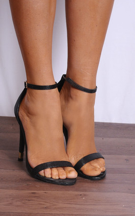 Black Ankle Strap Barely There Stilettos Strappy Sandals by Shoe Closet