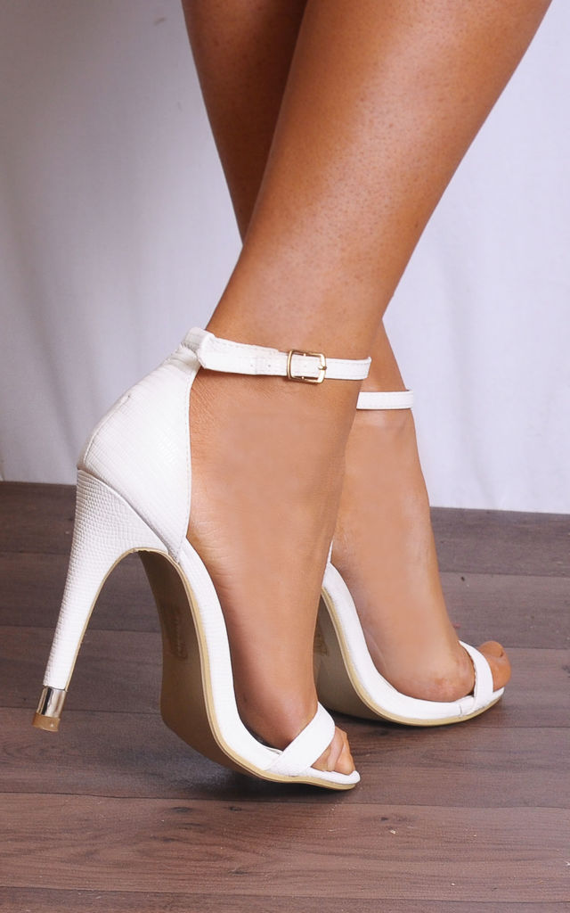 White Ankle Strap Barely There Stilettos Strappy Sandals High Heels by Shoe Closet
