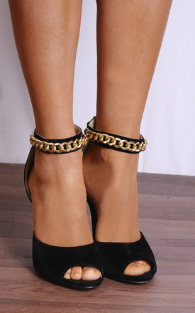 Black Gold Metal Chain Ankle Strap Strappy Sandals High Heels by Shoe Closet