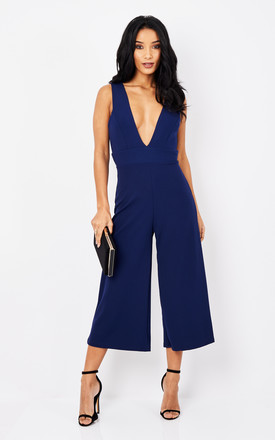 Deep V Culotte Jumpsuit In Navy by Phoenix & Feather Product photo