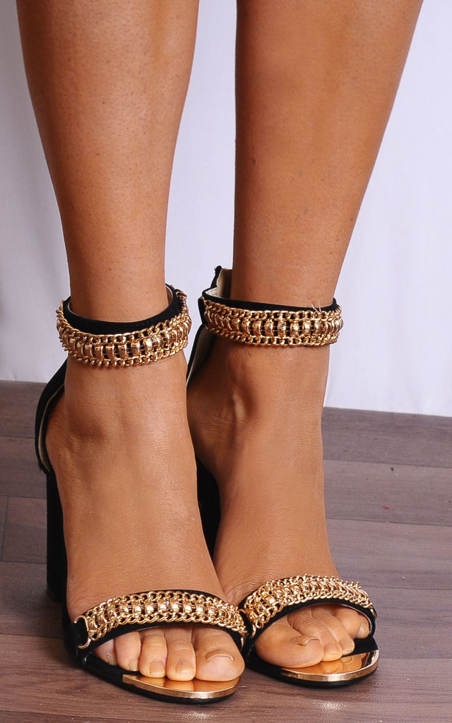 Black Faux Suede Gold Chain Barely There Strappy Sandals High Heels by Shoe Closet
