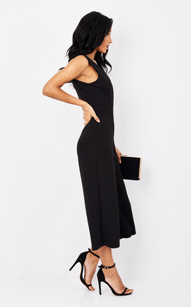 Black Plunging Deep V Culotte Jumpsuit by Phoenix + Feather