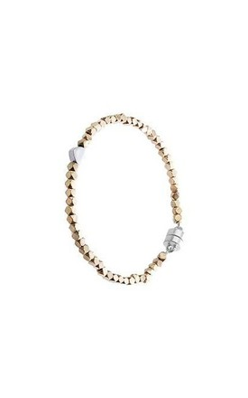 Silver heart and gold bead bracelet by Nautical and Nice Ltd