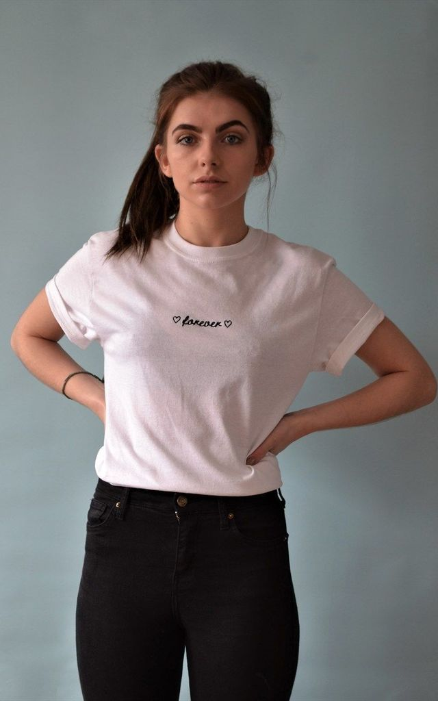 Forever Embroidered White tee by Emma Warren