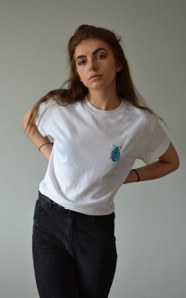 Shiny turquoise/blue Embroidered beetle White tee by Emma Warren