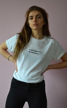 'A sass a day keeps the basics away ' Embroidered White tee by Emma Warren