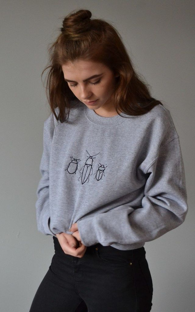 Embroidered Bug trio grey sweater by Emma Warren