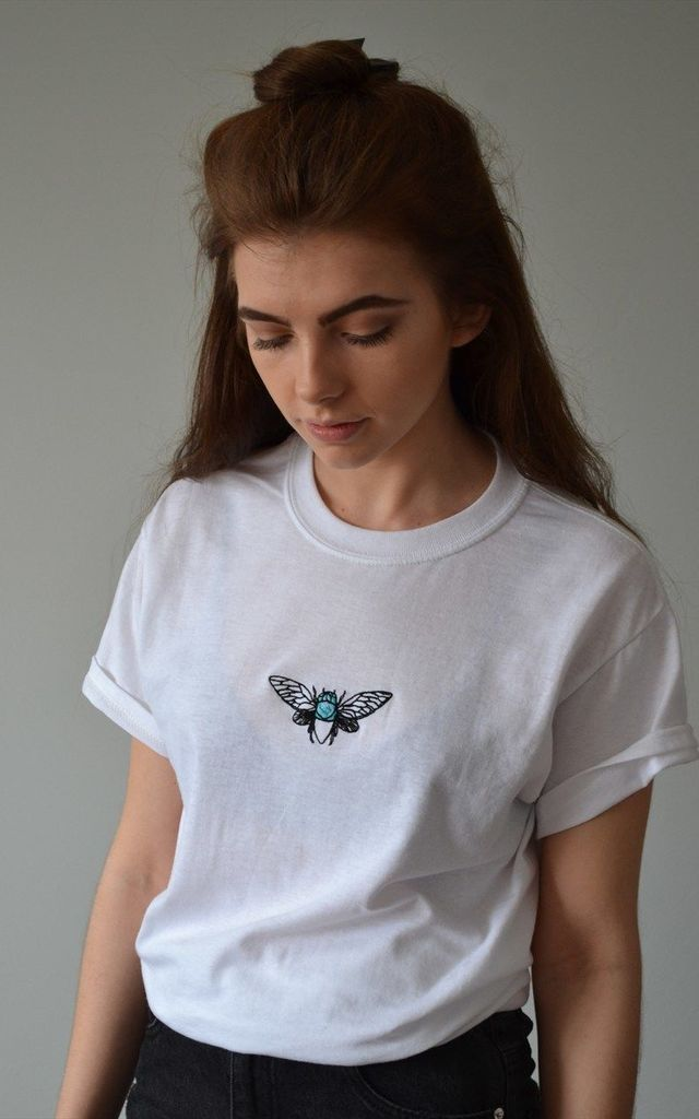 Embroidered Bug Moth White tee by Emma Warren
