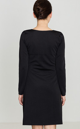 Black Long Sleeve Dress With Pockets by LENITIF