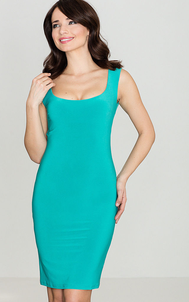 Sea Green Thick Shoulder Strap Dress by LENITIF