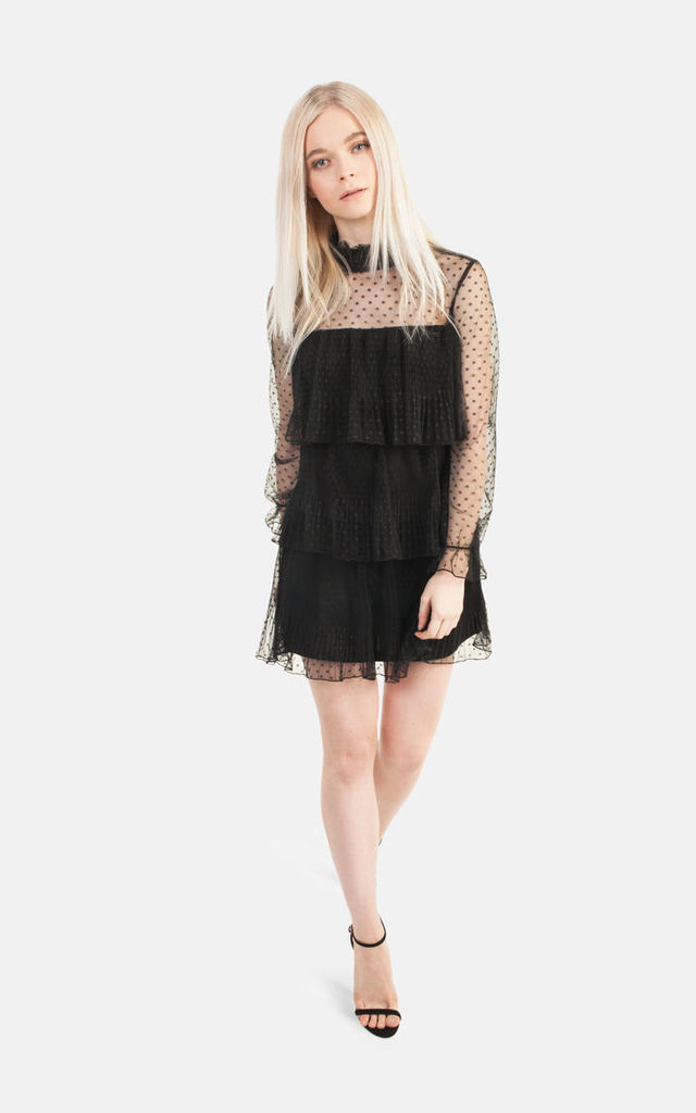 Black Mesh Ruffle Dress by Moth Clothing