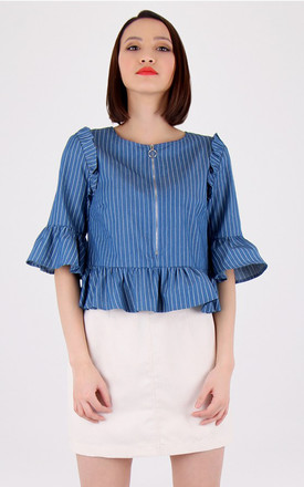 Crew Necked Short Bell Sleeves Ruffled  Stripy Top by MISSTRUTH
