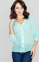 Mint 3/4 Sleeve Shirt with V Neck by LENITIF