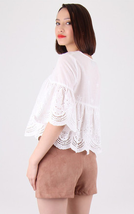 White V Neck Keyhole Short Flared Sleeves Crochet Top by MISSTRUTH