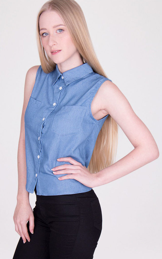 Blue Collared Sleeveless Buttoned Front Denim  Shirt by MISSTRUTH