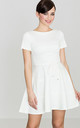 Short Sleeve Mini Skater Dress in White by LENITIF
