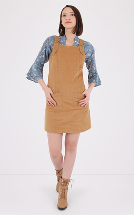 Tan Corduroy Pinafore Dress by MISSTRUTH