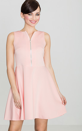 Pink Mini Dress with Front Zipper by LENITIF