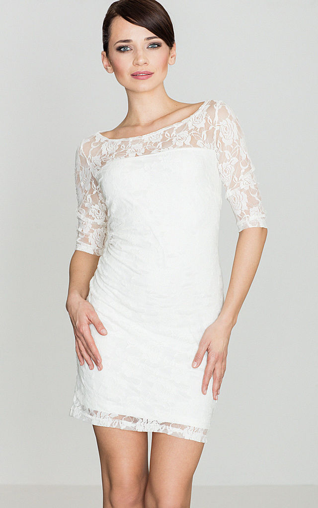 Lace Mini Dress in white by LENITIF
