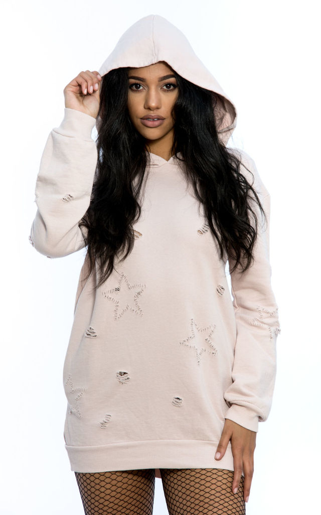 Oversized Hooded Ripped Sweater - Pink by Npire London