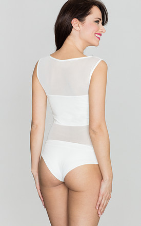 Bodysuit with mesh inserts in white by LENITIF