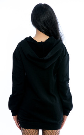 Oversized Hooded Ripped Sweater – Black by Npire London