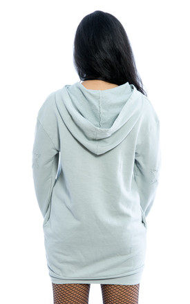 Oversized Hooded Ripped Sweater – Grey by Npire London