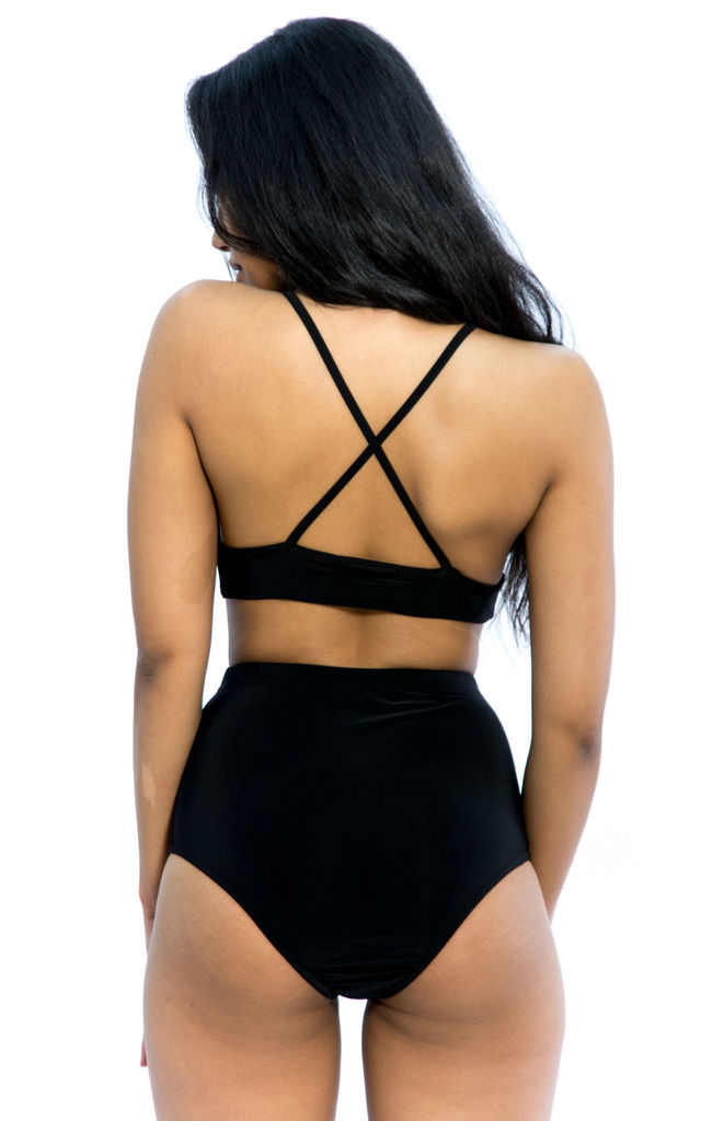 Slinky Triangle Bralette & Hot Pant Co-Ord Set – Black by Npire London