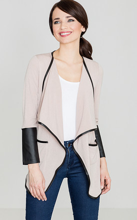 Beige Jacket With Leather Insertions by LENITIF