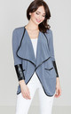 Grey Jacket With Leather Insertions by LENITIF