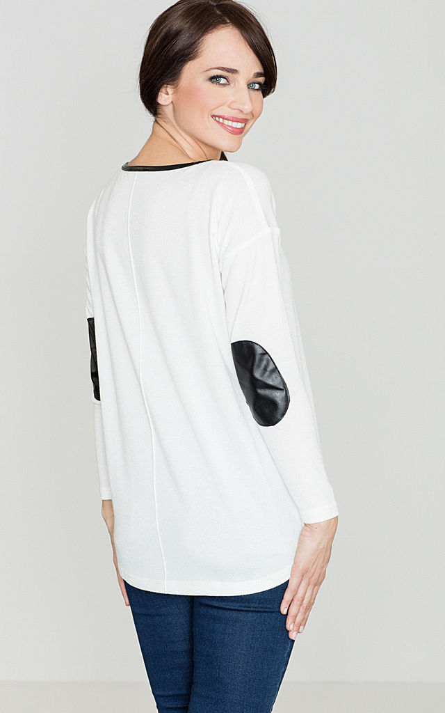 Long sleeve top with Leather elbow patches in white by LENITIF