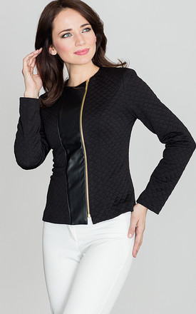 Black Quilted Jacket with Zipper by LENITIF