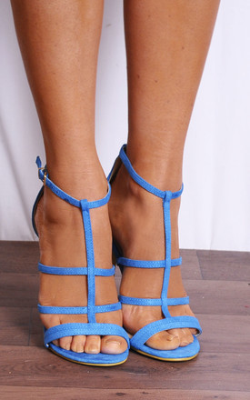 Strappy Stilettos in Blue Faux Suede by Shoe Closet