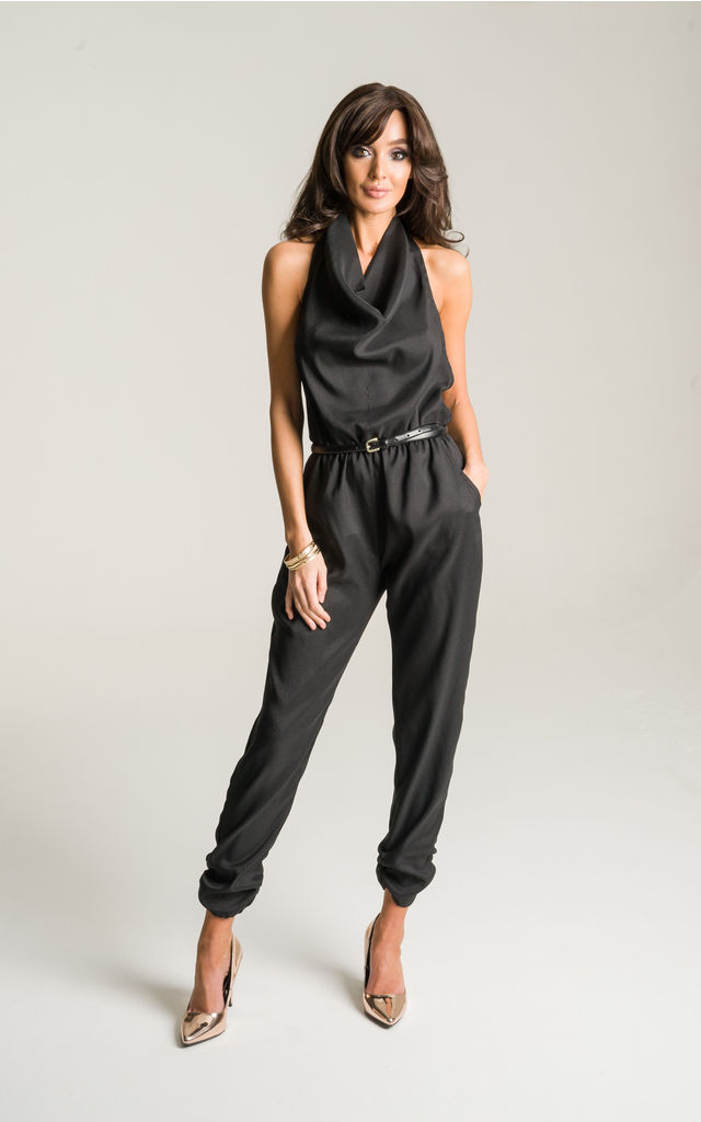 Black Halter Neck Jumpsuit by Lady Flare