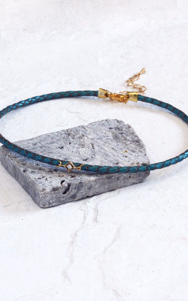CAMILLA. Cubic Zirconia Metallic Leather Choker by Aluna Mae