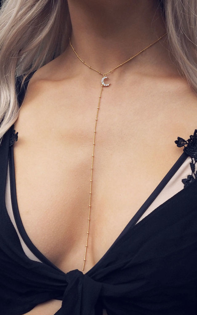 KOKO. Gold Crescent Fancy Chain Lariat Necklace by Aluna Mae