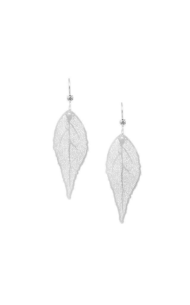 Leaf & Crystal Earring in Silver by White Leaf
